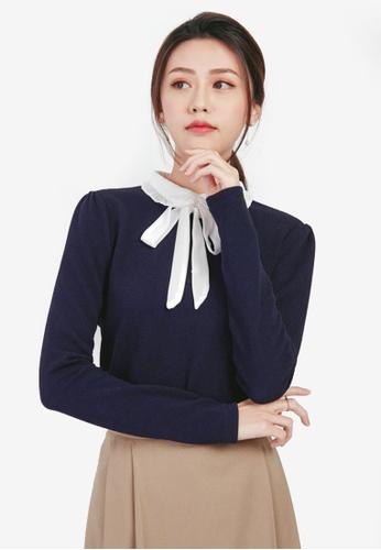 YOCO navy Pleated Collar Blouse 88281AA2D7344EGS_1