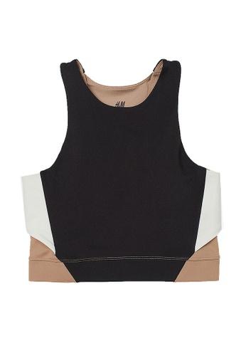 H&M black and multi Seamless Sports Bralette 3B1B3US097EB9DGS_1