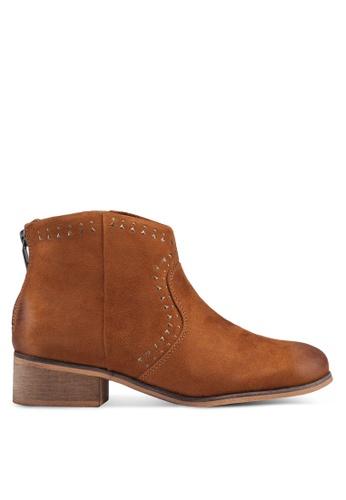ONLY 褐色 麂皮鉚釘踝靴 57A2ESHBF8D795GS_1