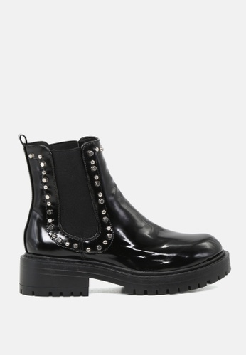 RAG & CO black Studded Black Patent Ankle Boots with Chunky Sole RCSH1743 20C33SH2928D15GS_1