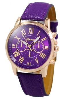 Geneva Celine Leather Strap Watch (Purple)