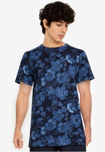 Abercrombie & Fitch blue Straight Hem Pattern T-Shirt 57E2FAA7EE8D0FGS_1