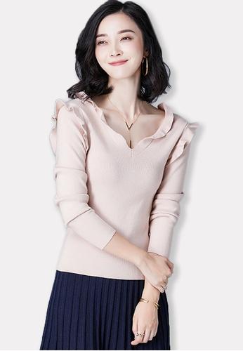 Sunnydaysweety beige 2017 F/W Beige V-neckline Long Sleeve Top A092752BE SU219AA0G7CCSG_1
