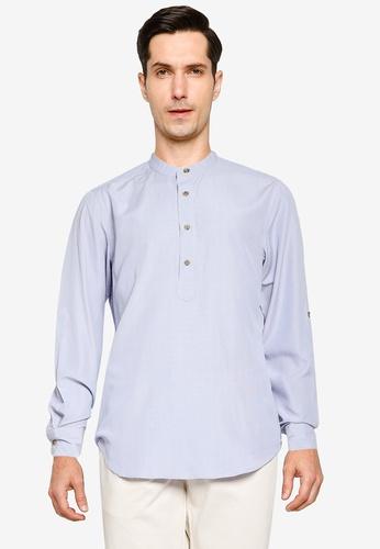 ZALORA BASICS blue and multi Oxford Half Placket Shirt F0EC5AAF8C8E65GS_1