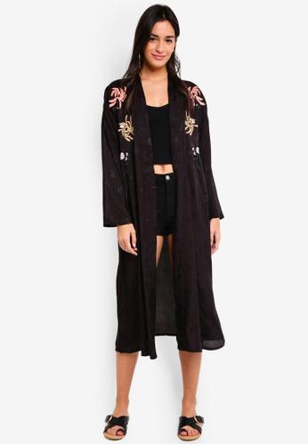 TOPSHOP black Black Embroidered Kimono 94EC5AAF6A9F5BGS_1
