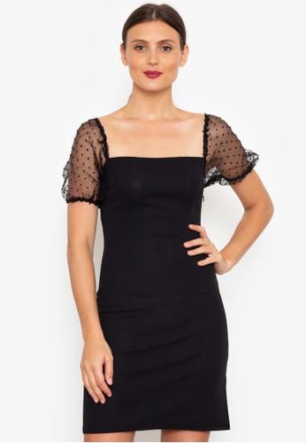 ZALORA OCCASION black Puff Sleeve Bodycon Dress D3F86AAFA1D7E8GS_1