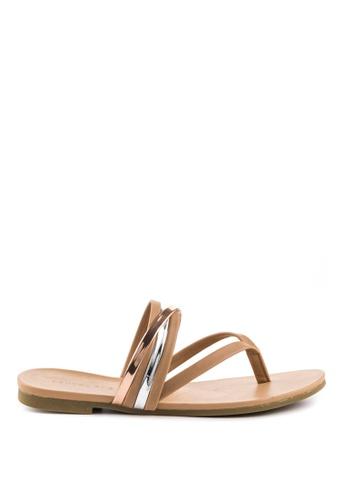 London Rag beige Sofia Toe Post Flat Sandals 930ABSH5381333GS_1