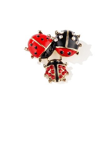 Glamorousky red Fashion Temperament Plated Gold Beetle Brooch with Cubic Zirconia 3991FAC45D731FGS_1