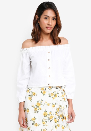 Miss Selfridge white Long Sleeve Bardot Top 3ADC8AA75D4545GS_1