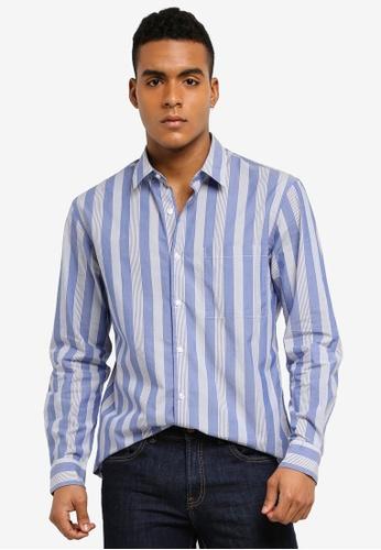 MANGO Man 藍色 長袖條紋襯衫 0720DAA0420B87GS_1