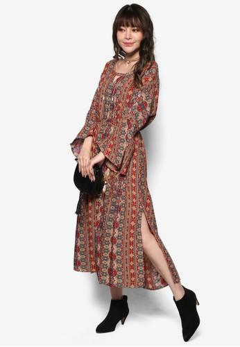 印花繫帶長袖洋裝, 服飾,esprit taiwan 洋裝