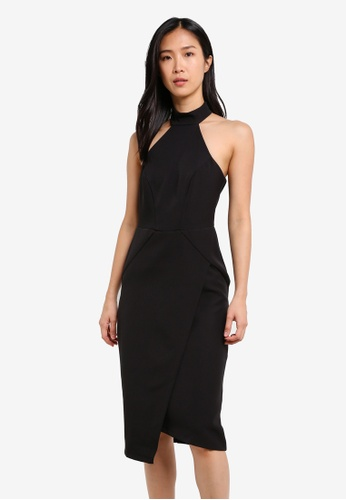 River Island black High Neck Wrap Front Midi Dress RI009AA0S9TJMY_1