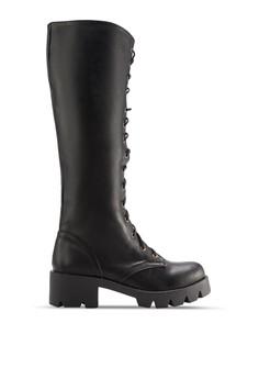鞋帶式厚底中筒靴