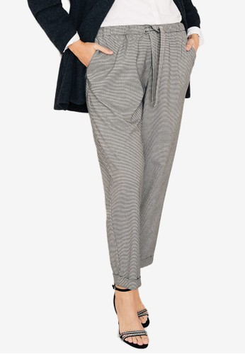 Violeta by MANGO grey Plus Size Mini Houndstooth Trousers B7613AA6293902GS_1