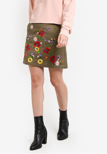 f315bbb77c Buy TOPSHOP Floral Embroidered Mini Skirt Online on ZALORA Singapore