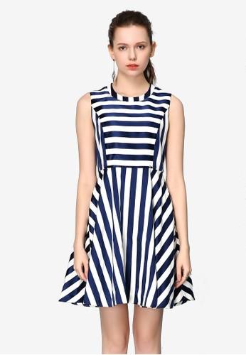 Hopeshow navy Striped Sleeveless Long Dress FC661AAB727DD5GS_1