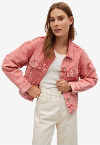 Mango pink Pocketed Denim Jacket 2A67BAA3459B0FGS_1