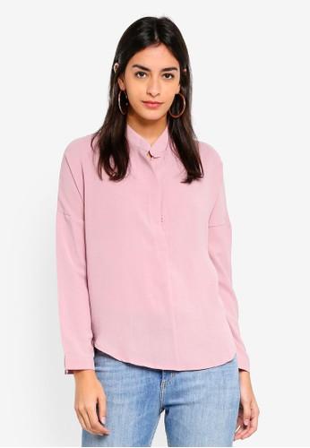 Shopsfashion pink Loose Fit Drop Shoulder Blouse 57CCFAAF0C7DB9GS_1