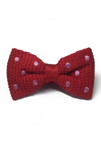 Splice Cufflinks red Webbed Series Baby Pink Polka Dots Red Knitted Bow Tie SP744AC01UAWSG_1