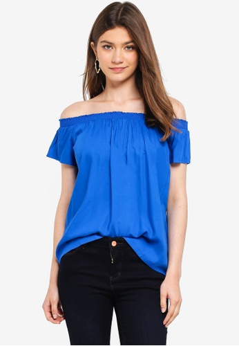 Pieces blue Mie Off Shoulder Top 67AFAAAB8AB0FEGS_1