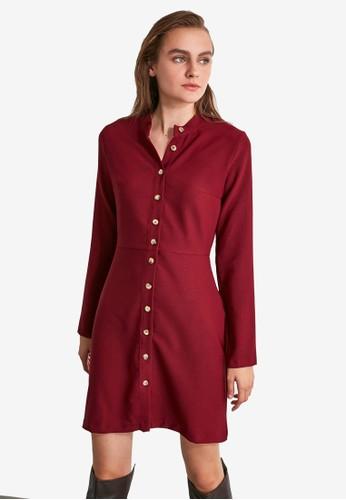 Trendyol red Slim Fit Shirt Dress 7D412AA1A3C5D2GS_1