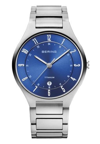 Bering silver Titanium 11739-707 Blue 39 mm Men's Watch D8FFBAC2878235GS_1