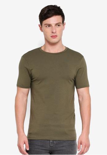 River Island 綠色 修身圓領T恤 CB717AAD45ABFAGS_1