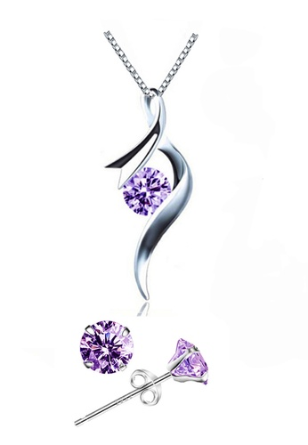 YOUNIQ silver YOUNIQ Ribbon 925 Sterling Silver Necklace Pendant with Purple Cubic Zirconia & Earrings Set 6EDA4ACF20990BGS_1