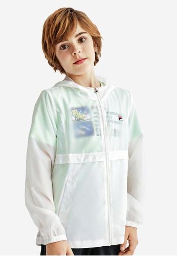FILA white FILA KIDS F-box Logo Transparent Hooded Jacket 10-15yrs F4820KAF8ACD72GS_1