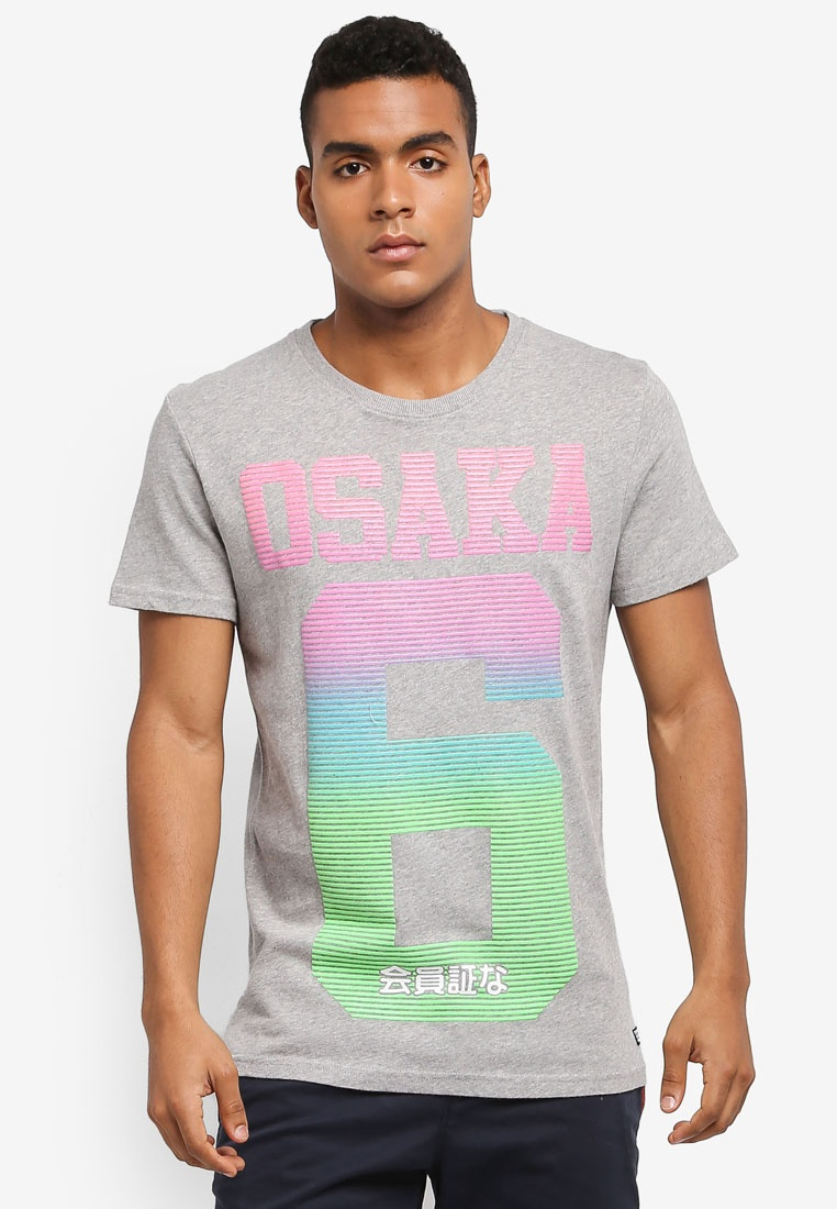 Superdry FADE TEE Grit OSAKA LINE Frontier Grey w4xCqnq6