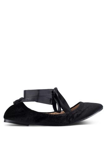 ZALORA black Velvet Lace Up Ballet Flats 328CAZZ57D4D1CGS_1