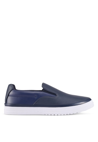 ZALORA navy Mixed Materials Slip Ons 8C90FSH00F0F4CGS_1