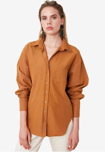 Trendyol brown Boyfriend Shirt A4A61AA5A2C21CGS_1