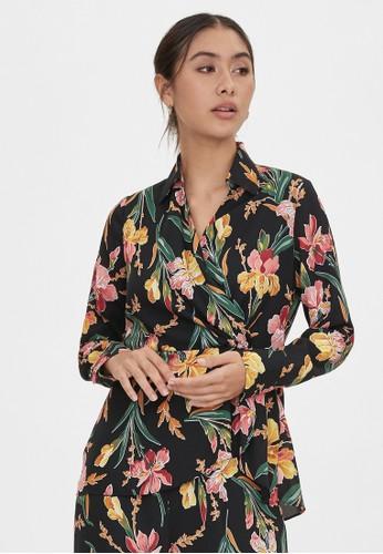 Pomelo black Surplice Wrap Floral Blouse - Black 1A23AAAD1DCF56GS_1