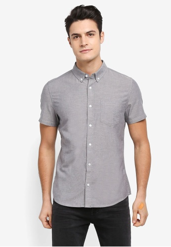 Burton Menswear London grey Grey Short Sleeve Oxford Shirt 4FE06AAABFB96CGS_1