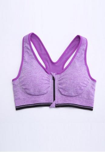 YSoCool purple Front-Close Sport Bra Purple D4C5FUS638C5A5GS_1