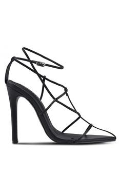 caeafd7e828450 Public Desire black Charmer Multi Strap Point Toe Heels 05087SH5040BEEGS 1