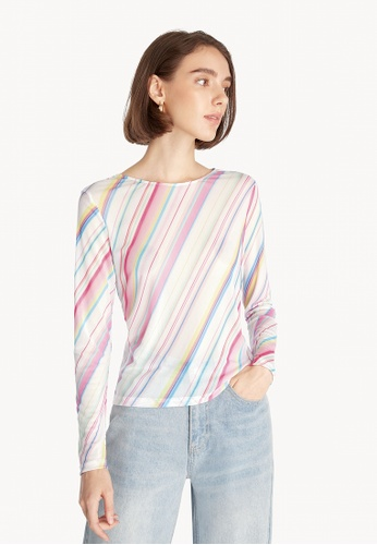 Pomelo white Multi Color Stripe Long Sleeve Tee - White 585B0AA60FAB06GS_1