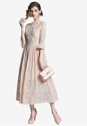 Sunnydaysweety beige Lace V-Neck One Piece Dress CDF87AA051023CGS_1