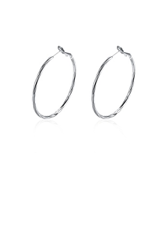Glamorousky silver Fashion Simple Geometric Circle Earrings B4615ACE703DC0GS_1