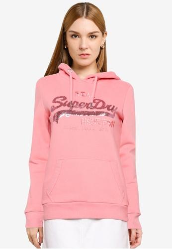 SUPERDRY 粉紅色 Vintage Logo Sequin Brushed Hoodie - Original & Vintage 1441EAAEFE3985GS_1