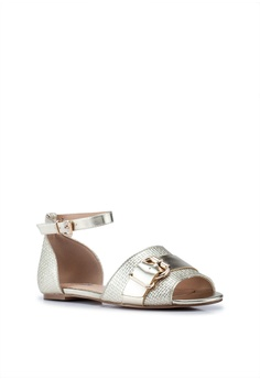 95de7ec77df4 30% OFF River Island Gold Textured Ankle Strap Sandals RM 199.00 NOW RM  138.90 Available in several sizes