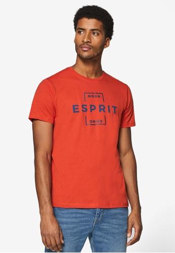 ESPRIT 橘色 Short Sleeve Brand Print T-Shirt 38689AAC98340AGS_1
