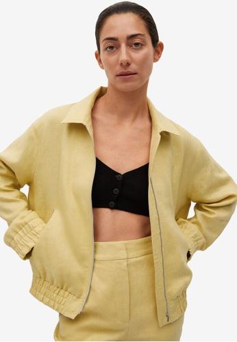 Mango yellow Pockets Linen Jacket E0BD0AAE552498GS_1