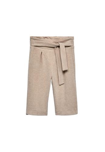 MANGO BABY beige Bow Culottes Trousers FA45FKA953F081GS_1