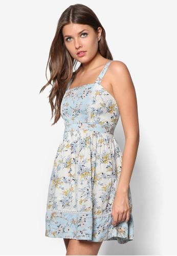 Petite 雙肩帶印花zalora開箱洋裝, 服飾, 洋裝
