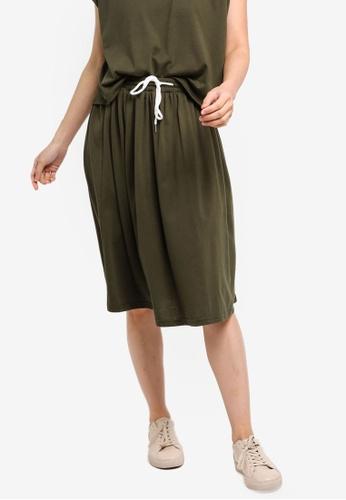 ZALORA BASICS green Basic Midi Flare Skirt 9E294AA026F1CCGS_1