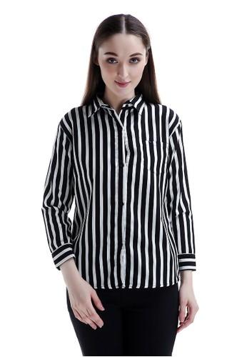 Evernoon black Carmel Long Shirt Motif Pattern Dual Tone Color Fashionable Woman Design Chic - Hitam DB711AAB001BEBGS_1