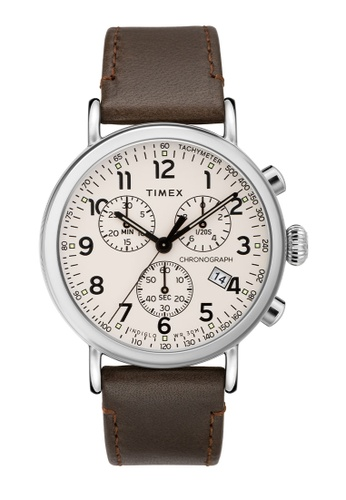 Timex brown and silver and beige Timex Standard 41mm - Silver-Tone Case, Brown Strap (TW2T21000) 49406AC712F0AEGS_1