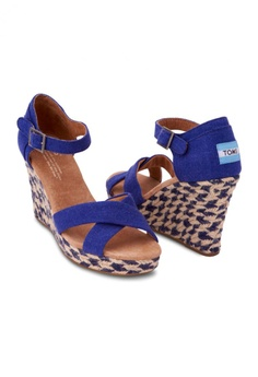3e605d0053a TOMS TOMS - Stripe Wedge Blue Mixed Rope WM RM 359.00. Sizes 7.5 8 10